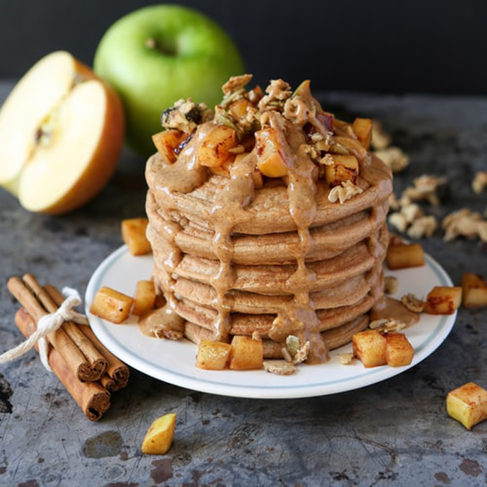 Delicious Cinnamon Pancakes with Almond Cranberry Butter dressing.